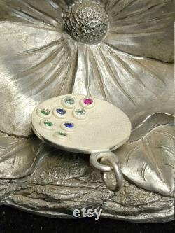 Sterling silver full moon Pendant, flush stones setting, multiple color, either you can choose birth stones, all synthetic stones, new