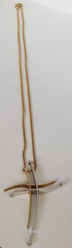 Stylish Modernist Unoaerre Italy Diamond 18ct Yellow and White Gold Cross Necklace