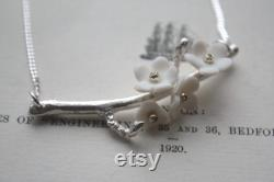 Summer blossom solid sterling silver necklace with porcelain flowers cherry blossom branch silver twig necklace branch jewelry