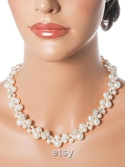 Swarovski Bridal Necklace, Crystal and Pearl Cluster Wedding Necklace, Rhinestone Statement Necklace, Modern Vintage Style Jewelry, TASMIN