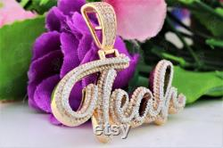 TEAH Cursive Writing Dual Tone Custom Hip Hop Pendant, Designer Trendy Personalized Silver Pendant