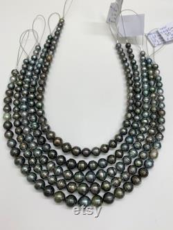Tahitian Pearl Necklace,7-11mm Circle-Drop Baroque Tahitian Cultured Pearl,Price for 1 Strand,15.75 Inches, Polynesia Pearl ,Lot21094-7