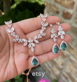 Teal blue Bridal Jewelry SET bridesmaid gifts Jewelry SET clear Crystal Wedding Jewelry Rose gold Bracelet Gold Bridal Earrings necklace