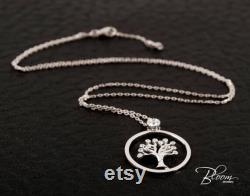 Tree of Life Necklace 14K White Gold CZ Crystal Pendant BloomDiamonds