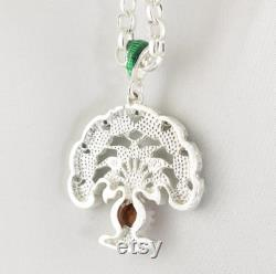 Tree of Life Necklace on 24 Inches Heavy Chain, 925 Sterling Silver Jewelry for Women, Talisman Multicolored Family Tree with Baltic Amber