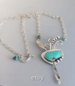 Turquoise pendant , hummingbird necklace , feather pendant, boho jewelry, turquoise beads, artisan jewelry, handmade jewelry, bench jeweler,