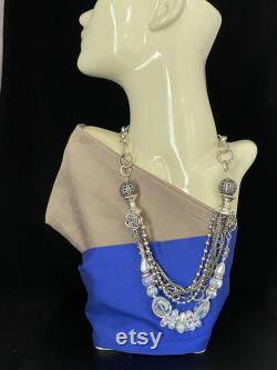 Unique Modern Glamour Crystal Fashion Statement Necklace Boho bohemian elegant stylish Perfect gift for her For any occasion.