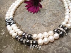 Unique Two Strands Fresh Water Pearls and Hematite Beads Necklace Bridal Rhinestones and Pearls Unique Choker Wedding Necklace