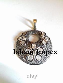Victorian Pendant Natural Rose Cut Diamond and Diamond Polki 925 Sterling Silver Pendant Vintage Fine Handmade Diamond Pendant Jewelry