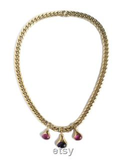 Vintage 1980s Bulgari Bvlgari Amethyst Tourmaline 18k Gold Necklace