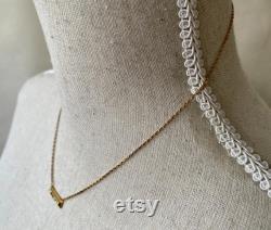 Vintage Delicate 14k Yellow Gold and Diamond Bar Pendant, Single Cuts, Milgrain