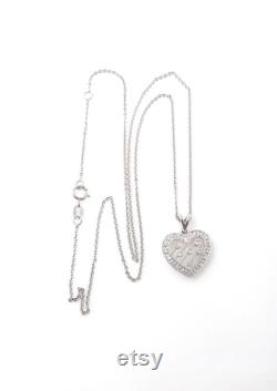 Vintage Diamond Heart Necklace 14K White Gold and Diamonds Open Heart Pendant with 14K Chain Sweetheart Valentines Love 4348