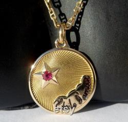 Vintage French ' Etoile d'amour ' Charm Love pendant, Signed Etoile d'amour, 18k Gold