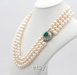 Vintage Triple Strand Pearl 3.80 Ct. Colombian Emerald 2.50 Ct. Diamond necklace