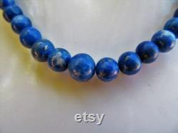 Vintage lapis lazuli necklace blue beads interspersed with pyrite fools gold 50 cm long