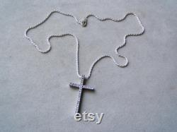 Vintage silver cross and chain, solid sterling, platinum plated, modern cross necklace, with cubic zirconium stones, mid nineties