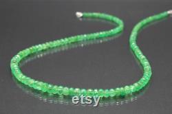 Vivid natural colombian emerald gemstone necklace, natural Colombian emerald CE09 gemstone beads necklace green birthday present gift