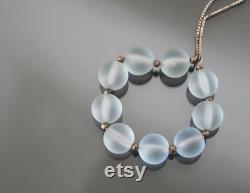 WMF MYRA Glass Necklace. Bright Blue Kristall. German Art Deco .
