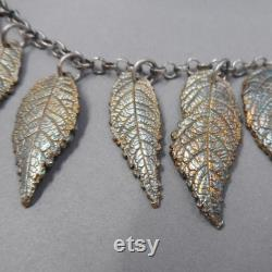 Walnut Leaf Fine Silver Bib Necklace- Statement Meeting Jewelry- Mother Earth Day Gift- Botanical Eco-Friendly- Outdoor Wedding- Spring Tree