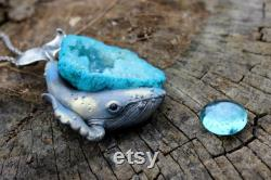 Whale pendant with the natural gemstone, polymer clay whale pendant, silver jewelry gift for stylish ladies, exclusive sea jewelry