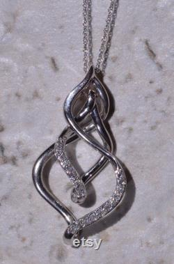 White Gold and Diamond Love Intertwined Pendant