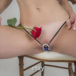 Women's Silver Clitoral Exciter Blue Orb G-String Clit Stimulator Jewelry