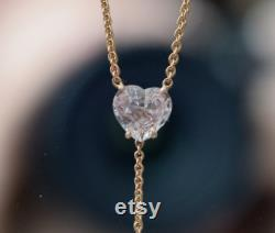 Y necklace. Heart pendant necklace. Rose gold necklace. Peach sapphire pendant. Wedding gift. Anniversary gift by Eidelprecious
