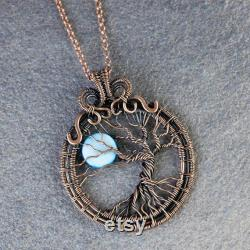blue moon necklace tree of life pendant copper jewelry easter gifts for wife gifts for girlfriend anniversary gifts for mom I love you more