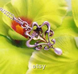 c.1900 Antique Jugendstil 935 Silver Enamel Pearl Faux Diamond Paste Lavaliere Pendant Chain Necklace Art Nouveau Edwardian Fine Jewelry